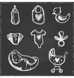 set bashower icons with diaper crawler vector image