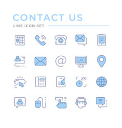 set color line icons contact us vector image