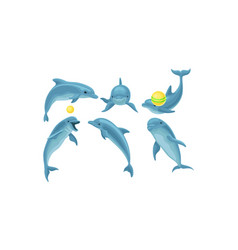 Set of blue dolphins mading tricks with balls vector