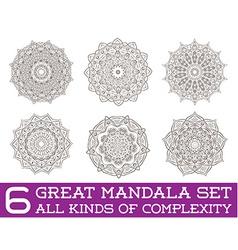 Set of Ethnic Fractal Mandala Meditation Tattoo vector image