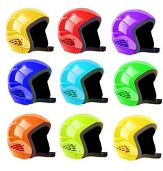 set of helmets luge vector image