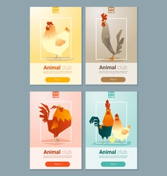 Set of templates with chicken for web design 2 vector image
