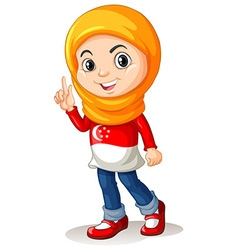 Singapore girl with head scarf vector