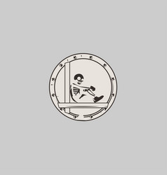 skeleton on grey background vector image