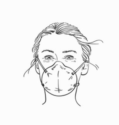 sketch woman head with medical face mask hand vector image