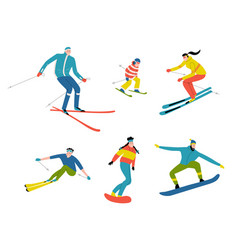 skiers and snowboarders cute doodle people funny vector image