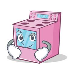 Smirking gas stove character cartoon vector