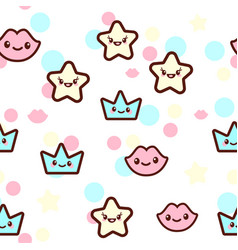 stars lips and crowns vector image