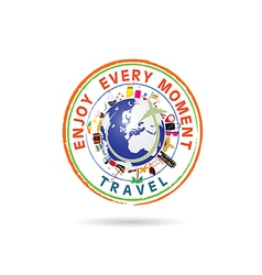 travel grunge rubber stamp in colorful vector image