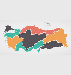 Turkey map with states and modern round shapes vector