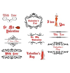 Valentines Day messages and headlines vector image