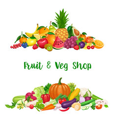 Vegetables and fruit banner vector