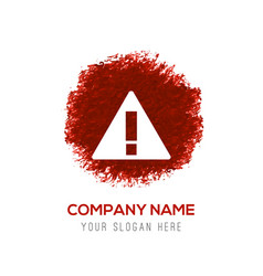 Warning icon - red watercolor circle splash vector