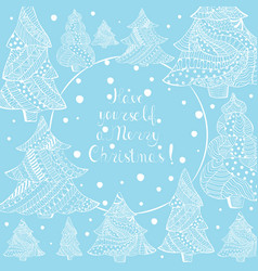 White christmas fir trees and lettering on blue vector