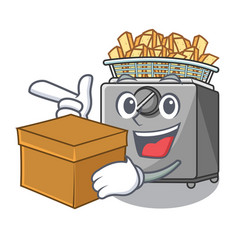 With box character deep fryer on restaurant vector