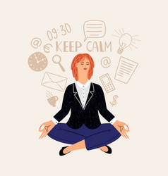 woman office meditation vector image
