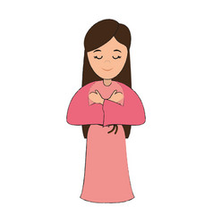 Woman wearing tunic cute cartoon icon image vector