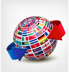 Globe made out of flags with two arrows vector