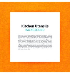 Paper over Kitchen Utensils and Cooking Line Art vector image