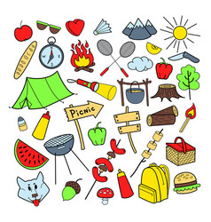 picnic hand drawn doodle outdoor activities vector image