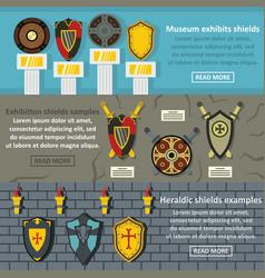 shield exhibits banner horizonatal set flat style vector image