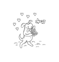 black-white sketch funny cartoon puppythe vector image vector image