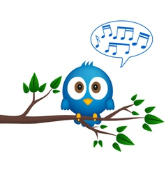 Blue bird sitting on twig singing vector image vector image