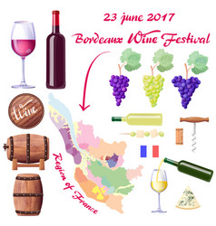 bordeaux wine festival on 23 june 2017 poster vector image vector image