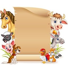 Cartoon funny farm animals with blank sign vector image vector image