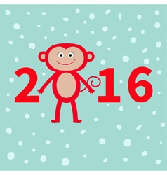 Cute monkey on snow background New Year 2016 Baby vector image vector image