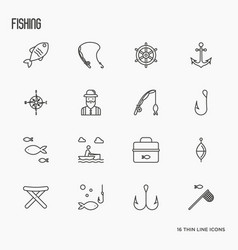 fishing related thin line icons fisherman hooks vector image vector image