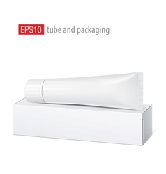 Realistic white tube and packaging vector image vector image