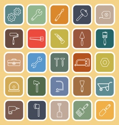 Tool line flat icons on yellow background vector image vector image