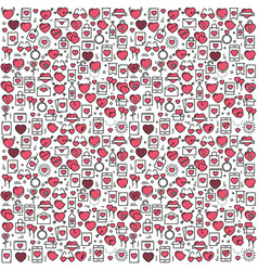 background with icons and hearts vector image