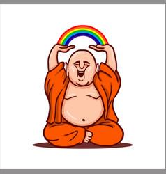 Fat buddha holds a rainbow over his head vector