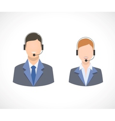 Call center support personnel staff icons vector image vector image