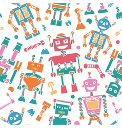 Cute retro robots colorful silhouette pattern vector image