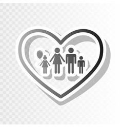 family sign in heart shape vector image vector image