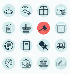 set of 16 e-commerce icons includes cardboard e vector image