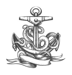Anchor with octopus tentacles and ribbon tattoo vector