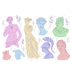 antique statues modern draw style beautiful vector image