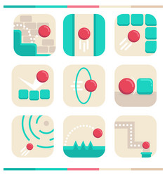 app icons in simple flat style vector image
