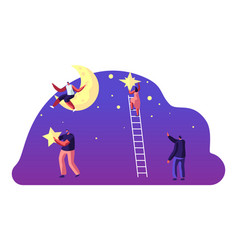 astronomy science man sitting on moon characters vector image