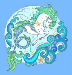 beautiful white sea horse hippocampus ill vector image