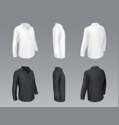 black and white classic shirts mockup vector image