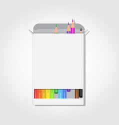 blank box with colorful pencils rectangle cut and vector image