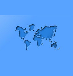 blue papercut cutout world map concept vector image