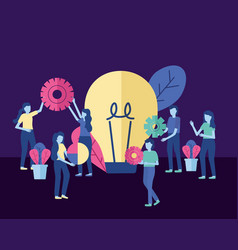 business people with gear bulb vector image