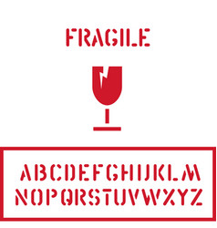 Cargo cardboard box fragile stamp with glass vector