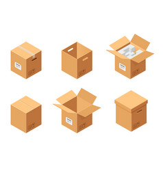 Carton packaging boxes set isometric view closed vector